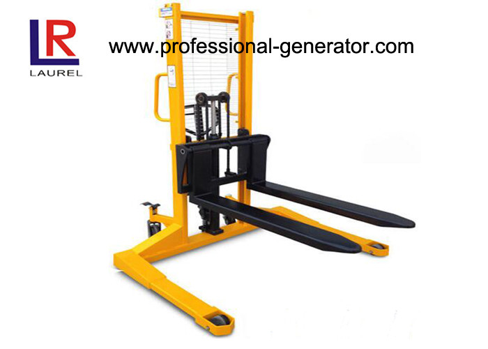 1000 KGS Manual Hydraulic Hand Lift Stacker With Straddle Leg / Adjustable Forks